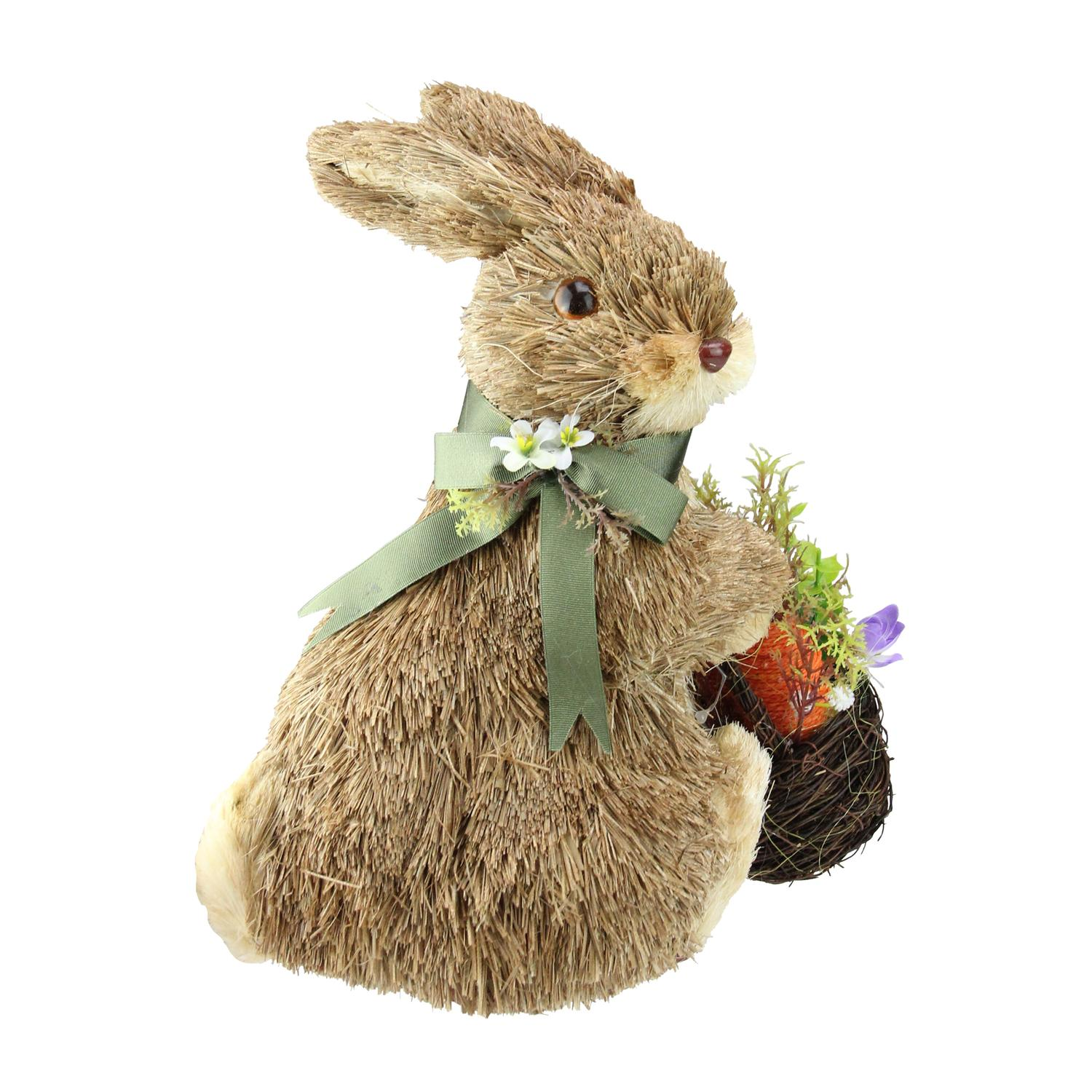 """11.25"""" Sitting Bunny Wearing Green Scarf Facing Right Figure"""