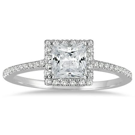 1 Carat TW Princess Cut Diamond Engagement Ring in 14K White Gold