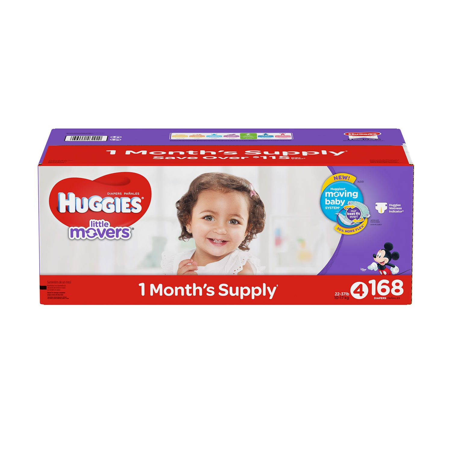 Huggies Little Movers Diapers (Size 4, 168 ct.)