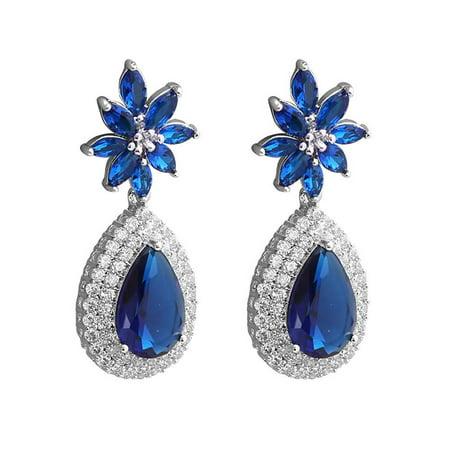 Pear Shape Sapphire Earrings (Pear Shape Blue Simulated Sapphire and Zirconia Dangle Chandelier Earrings)