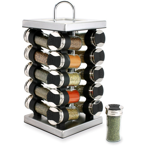 Olde Thompson Stainless Steel 20-Jar Revolving Spice Rack