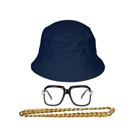 90s Hip-Hop Gold Chain Kit (Bucket Hat + Sunglass + Gold Chain)