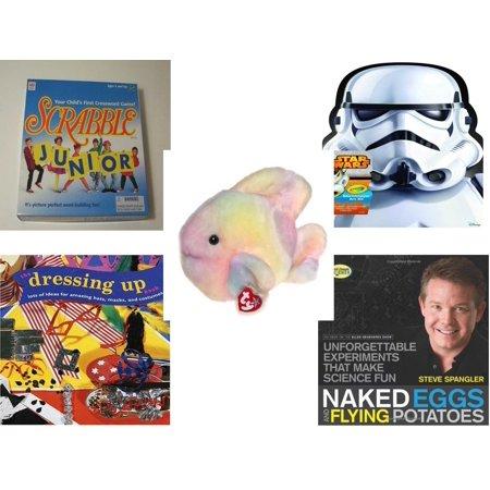 Children's Gift Bundle [5 Piece] -  Scrabble Junior: Your Child's First Crossword ! - Crayola Storm Trooper Art Case  - Ty Beanie Buddy Coral The Fish 8