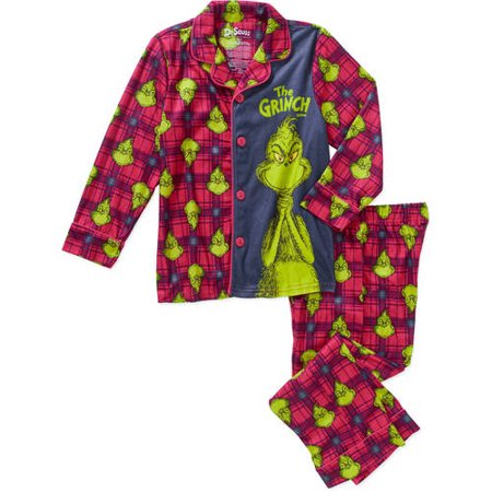 a0f5ec9a5 Batman - Boys  Dr Seuss How the Grinch Stole Christmas Boys Flannel Pajama  Set - Walmart.com