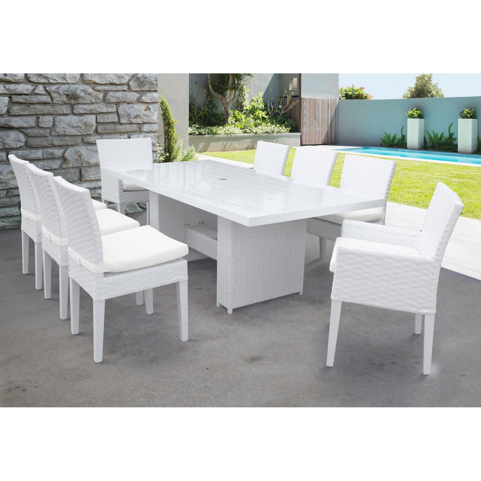 TK Classics Miami Wicker 9 Piece Patio Dining Set