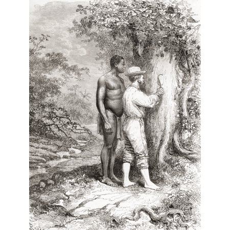 Jules Crevaux during his exploration of French Guiana in 1878 carving his initials on a tree on the banks of the Oyapock or Oiapoque River South America in the 19th century Jules Crevaux 1847 Canvas