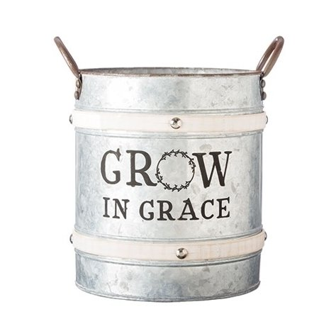 "Pack of 2 Gray and Brown ""Grow In Grace"" Inspirational Bucket Planter with Handles 12.5"""