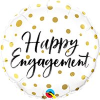 Qualatex 18 Inch Round Foil Balloon - Happy Engagement Gold Dots