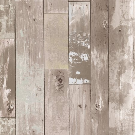 Brewster Heim Taupe Distressed Wood Panel Wallpaper