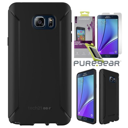 purchase cheap 7093f e7801 Note 5 Case/Glass Combo, Tech21 Matte Black EVO Tactical Anti-Shock Cover +  Tempered Glass Screen Protector for Samsung Galaxy Note 5