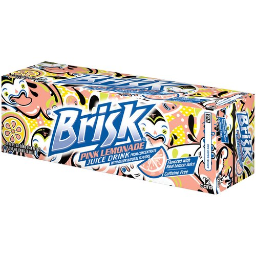 Brisk Pink Lemonade Juice Drink, 12 fl oz, 12 pack
