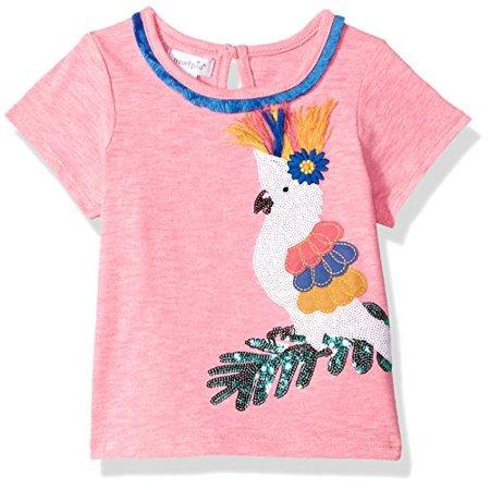 Tee Mud Pie (Mud Pie Baby Girls Parrot Sequin Short Sleeve T-Shirt, Pink, LG/ 4T-5T)