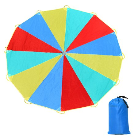- GHP 12Ft Red/Yellow/Blue/Green 190T Polyester Fabric 12-Handle Foldable Parachute w Bag