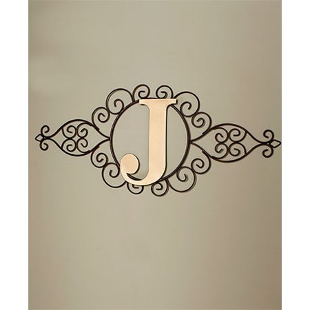 Indoor Home Decor - Monogram Metal Wall Art Scrolled Rustic Finish Home Decor Letter Hung Indoor New (J)