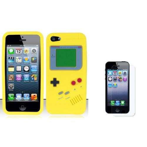 Insten Gameboy Gel 3D Rubber Cover Case + Screen Protector For Apple iPhone SE 5/5S - Yellow