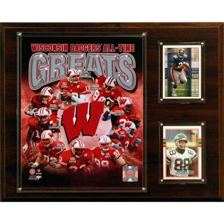 Wisconsin Badgers Wall (C&I Collectables NCAA Football 12x15 Wisconsin Badgers All-Time Greats Photo Plaque )