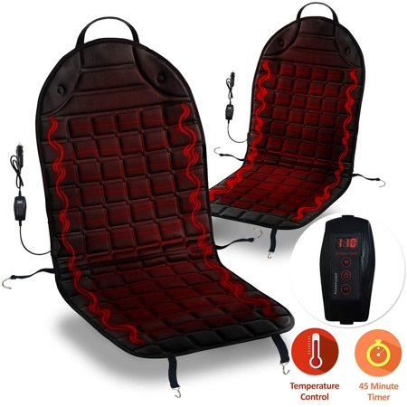 Zone Tech 2 Pack 12V Heated Car Seat Cushion Adjustable Temperature Heating Pad Pain Reliever
