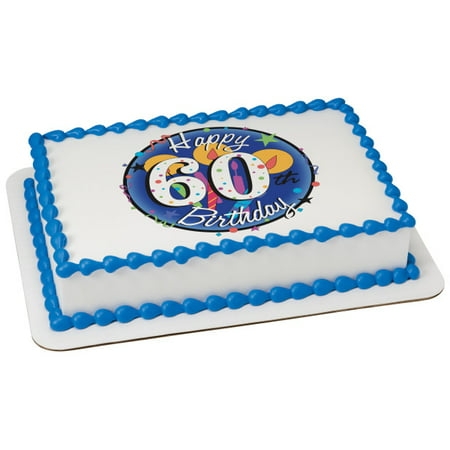 Happy 60th Birthday Edible Icing Image Cake or cupcake topper - Cake Decorations For 60th Birthday