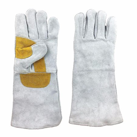 "Instapark® Welding Gloves Medium Large XL MIG/STICK TIG Compatible | Leather Lined, Grey 16"" One Size Fits"