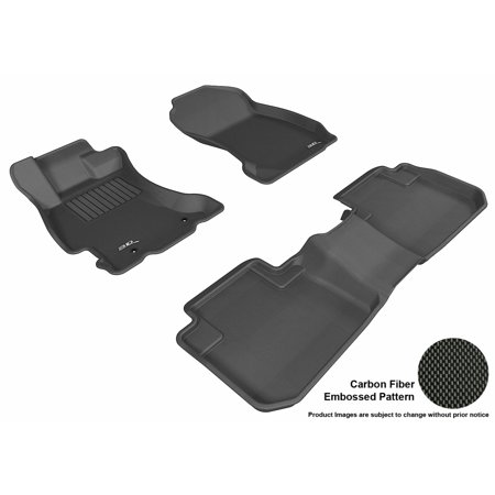 3D Maxpider 2014 2017 Subaru Forester Front   Second Row Set All Weather Floor Liners In Black With Carbon Fiber Look