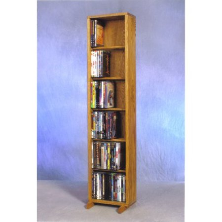The Wood Shed Solid Oak 6 Row Dowel CD / DVD Combination Media Rack – 12 in. Wide