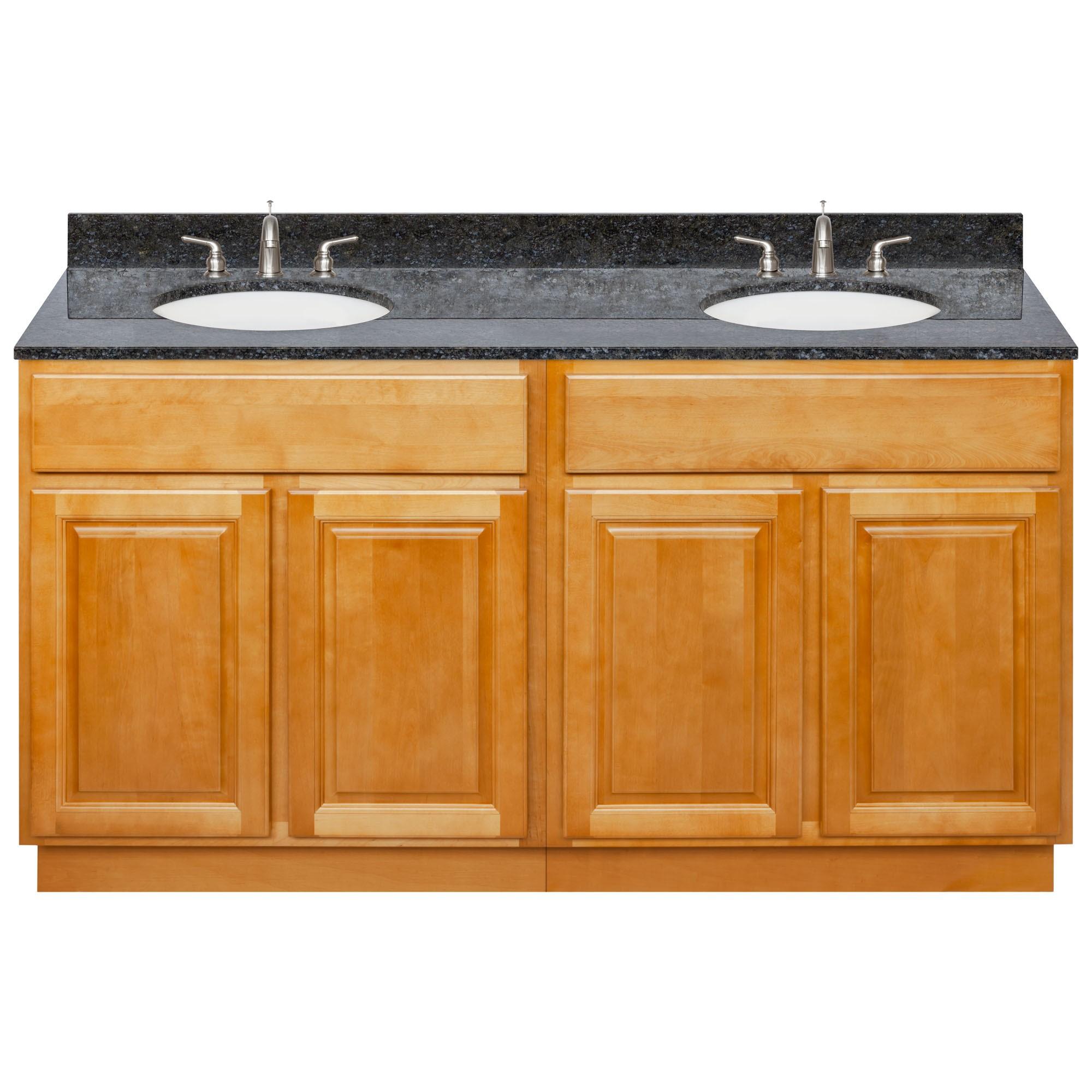 Brown Double Bathroom Vanity 60 Blue Butterfly Granite Top Faucet Lb4b Walmart Com Walmart Com