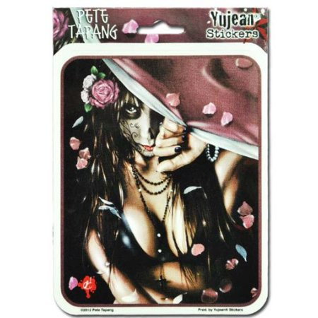 Pete Tapang - Cemetery Gates Day of The Dead Pin Up Girl - Sticker / - Day Of The Dead Stickers