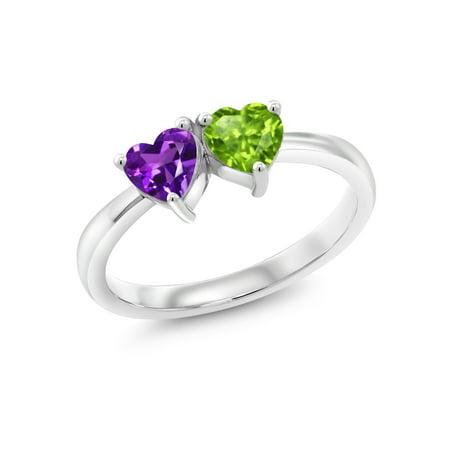 - 0.90 Ct Heart Shape Purple Amethyst Green Peridot 925 Sterling Silver Ring