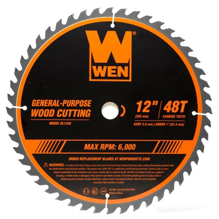 WEN 12-Inch 48-Tooth Carbide-Tipped Professional Woodworking Saw Blade for Miter Saws and Table Saws,