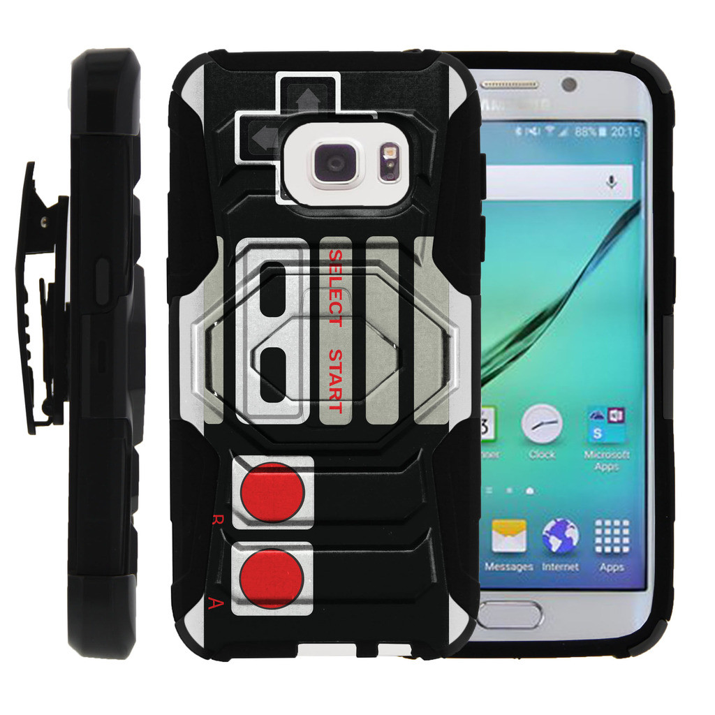 Galaxy S7-Edge Case | S7-Edge Holster Case [ Armor Reloaded ] Heavy Duty Rugged Phone Protector with Holster and Kickstand - Game Controller Retro