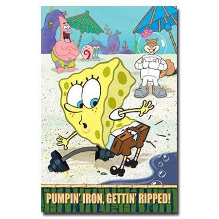 Sponge Bob Poster Pumpin Iron Funny New 24X36
