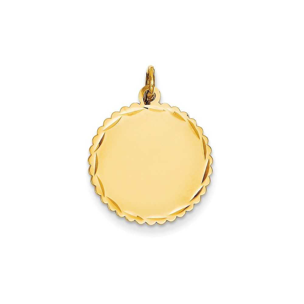14k Yellow Gold 0.018 Gauge Engravable Scalloped Disc Charm (0.9in long x 0.7in wide)
