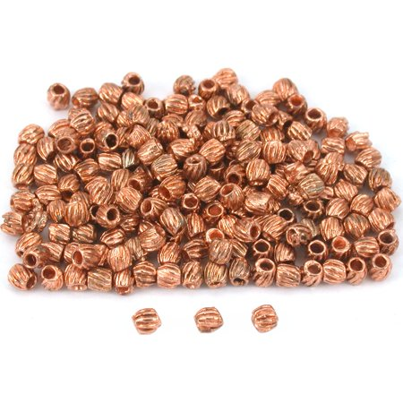 Bali Tube Beads Copper Plated Barrel 3mm New Approx - Bali Style Tube Bead