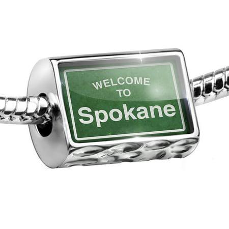 Bead Green Road Sign Welcome To Spokane Charm Fits All European Bracelets