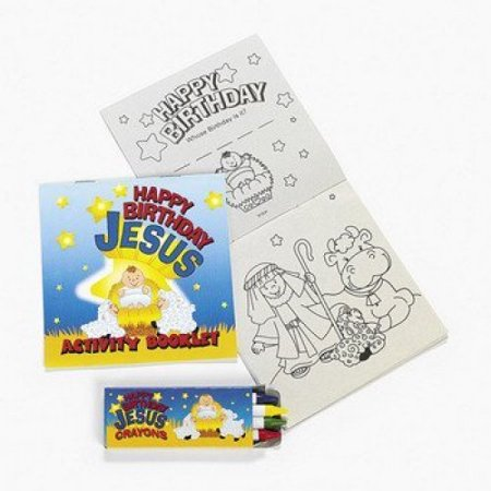 Happy Birthday Jesus Activity / Coloring Books with Crayons ~ 12 ...
