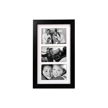 3 Opening 4x6 Collage Frame Linear Wall Matted Black