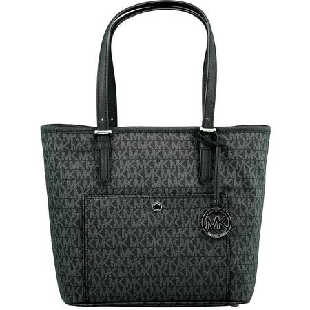 Michael Kors Women's Large Jet Set Top Zip Snap Pocket Tote Bag Leather Shoulder - Black ()