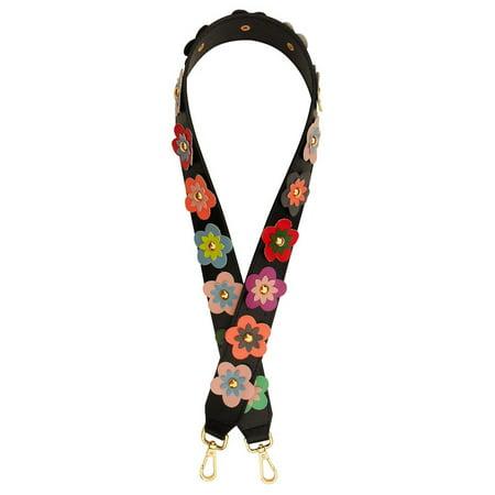 Popular Halloween Ideas 2019 (Top Flower Black Trim Guitar Strap Style Replacement Purse Strap Popular Design Handle Fabric Vegan Leather Shoulder Handbag Accessories Best Hot Gift Idea 2019 for Women Wife Mom)