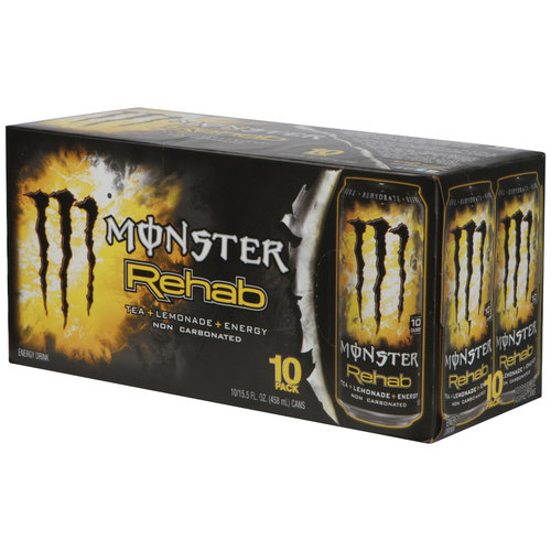 Monster Rehab Tea + Lemonade + Energy Drinks, 15.5 fl oz, 10 pack