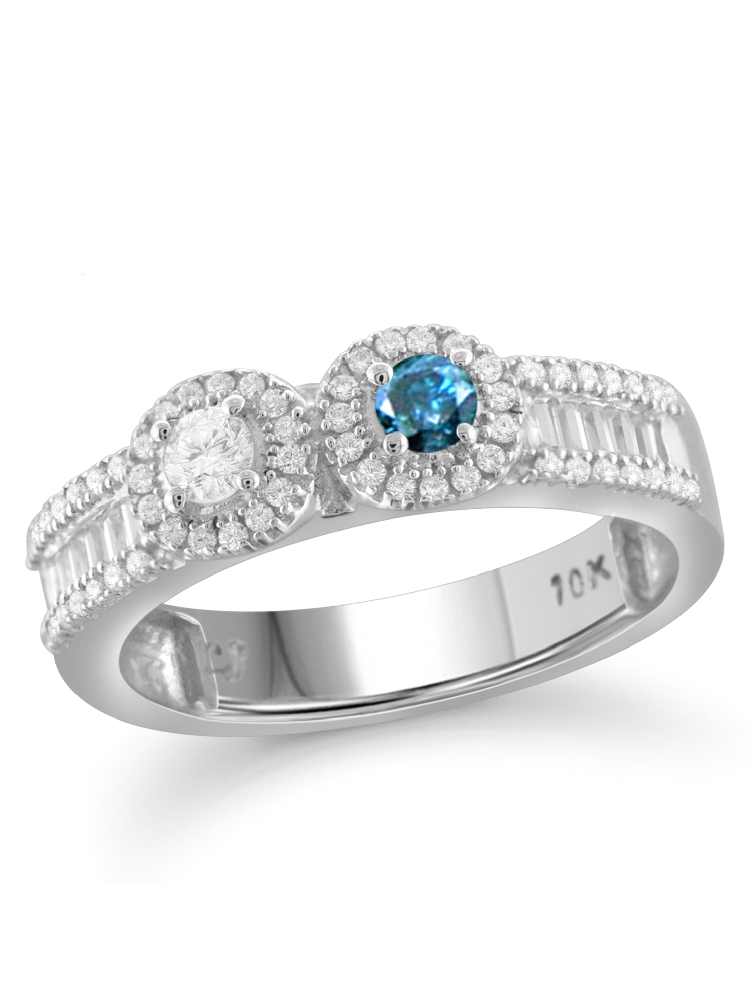 JewelersClub 1/2 Carat T.W. Round- and Baguette-Cut Blue and White Diamond 10kt White Gold Two-Stone Ring