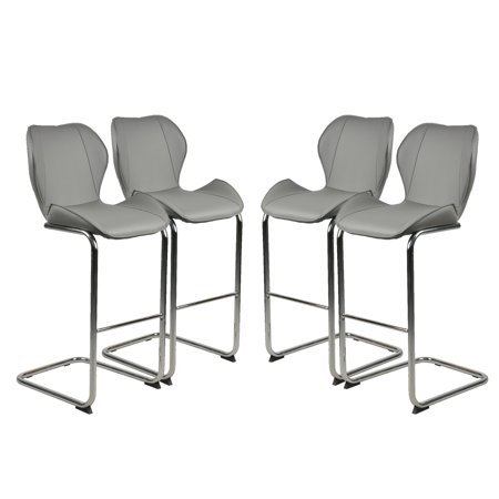 JUMPER Set of 4 Bar Chairs Modern Style Counter Height Stool Steel Frame Sling Dining Chairs Bar Stools Indoor Outdoor Patio Backyard Kitchen Furniture Set with Armrest ()