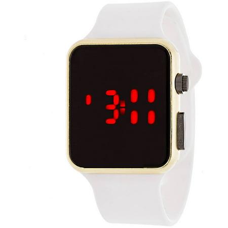LED Digital Watch, White Rubber Strap Betsey Johnson Womens White Strap Watch