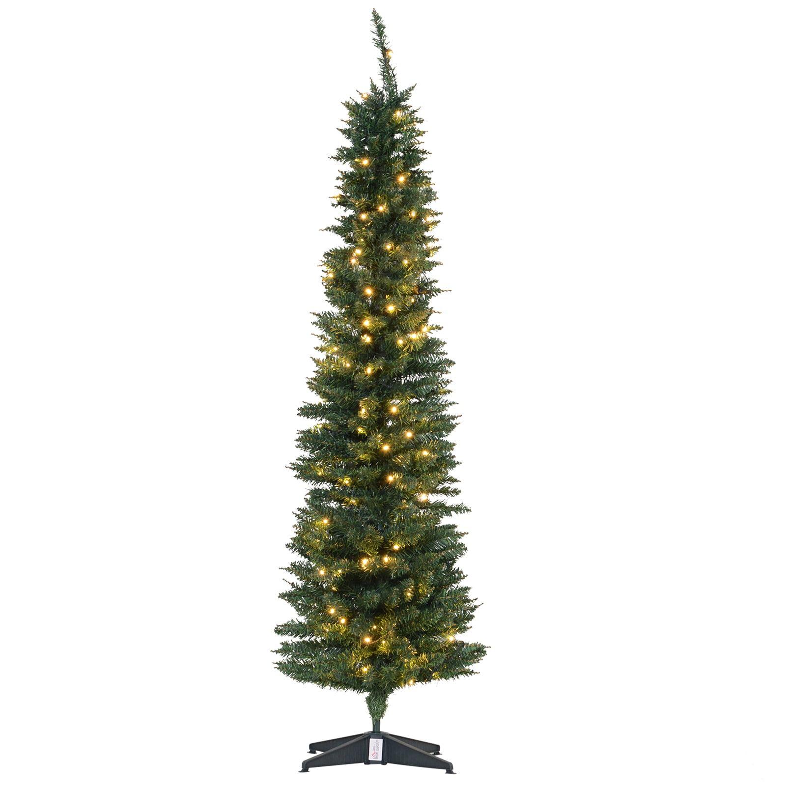 6' PVC Pre Lit Slim Pencil Noble Artificial Christmas Tree ...