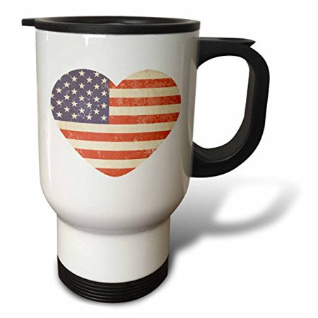 3dRose American Flag Heart, Travel Mug, 14oz, Stainless Stee