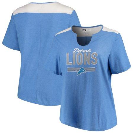 Detroit Lions Majestic Women's Notch Neck Plus Size T-Shirt - Heathered Blue Detroit Lions Youth Short