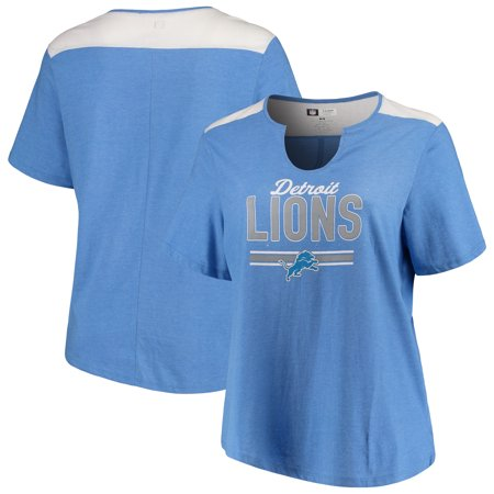 Detroit Lions Majestic Women's Notch Neck Plus Size T-Shirt - Heathered Blue