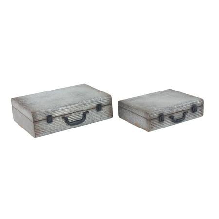 Decmode Rectangular Metal Latched Suitcase Boxes, Gray - Set Of 2