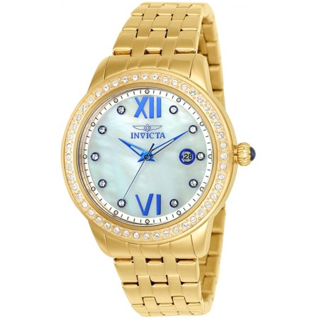 (INVICTA Angel Womens 48 Crystal Watch - Gold-Tone - Mother of Pearl Dial - 100m)