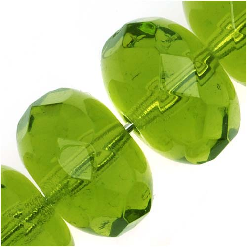 Czech Fire Polished Glass Beads 11mm x 7mm Rondelle 'Olivine' Green (8)