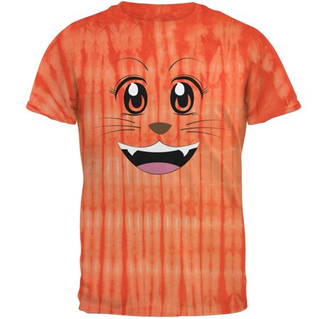 Bamboo Dyes (Anime Cat Face Neko Bamboo Orange Tie Dye Adult T-Shirt)